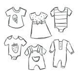 Vectorillustratie van de inzameling van babykleren stock illustratie