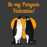 Vectorillustratie van de kaart van de valentijnskaart met pinguïnen Stock Fotografie