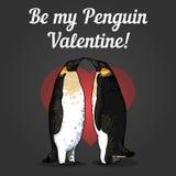 Vectorillustratie van de kaart van de valentijnskaart met pinguïnen Royalty-vrije Stock Foto's