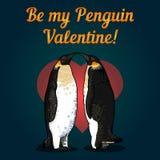 Vectorillustratie van de kaart van de valentijnskaart met pinguïnen Royalty-vrije Stock Afbeelding