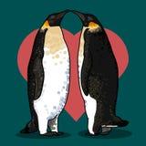 Vectorillustratie van de kaart van de valentijnskaart met pinguïnen Royalty-vrije Stock Fotografie