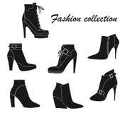 Vectorillustratie van de laarzen van de vrouwen` s enkel Stock Afbeelding