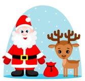 Vectorillustratie van de leuke Kerstman met giften en rendier royalty-vrije illustratie