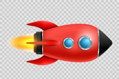 Vectorillustratie van de realistische 3D lancering van het raket ruimteschip op transparante achtergrond Ruimteexploratie Sta van vector illustratie