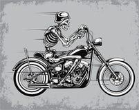 Vectorillustratie van de skelet de Berijdende Motorfiets Stock Afbeelding