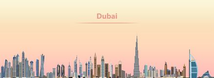 Vectorillustratie van de stadshorizon van Doubai bij zonsopgang Royalty-vrije Stock Afbeeldingen