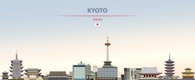 Vectorillustratie van de stadshorizon van Kyoto op kleurrijke gradiënt mooie dagachtergrond stock illustratie