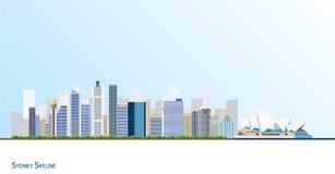 Vectorillustratie van de stadshorizon van Sydney Stock Afbeeldingen