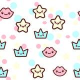 Vectorillustratie van de sterren, de lippen en de kronen met het grappige gezichten naadloze patroon In Kawaii emoticons voor stock illustratie