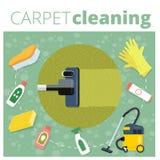 Vectorillustratie van de tapijt de schoonmakende dienst Bedrijfsconcept DE vector illustratie