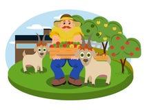 Vectorillustratie van de tuin met een plattelandsmens vector illustratie