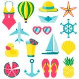 Vectorillustratie van de voorwerpen van de zomersymbolen ANS Stock Afbeelding