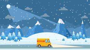 Vectorillustratie van de winterlandschap met de bestelwagen van de leveringslading stock fotografie
