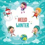 Vectorillustratie van de winterscène Royalty-vrije Stock Foto's