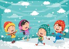Vectorillustratie van de winterscène Stock Afbeelding