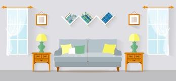 Vectorillustratie van de woonkamer de vlakke stijl Stock Fotografie