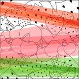 Vectorillustratie van de zomerdessert - watermeloen, kers, stra Royalty-vrije Stock Foto's