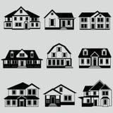 Vectorillustratie van de zwarte reeks van het huizenpictogram Stock Foto's