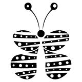 Vectorillustratie van decoratieve zwart-witte die vlinder op de witte achtergrond wordt geïsoleerd Stock Afbeelding