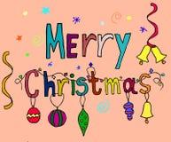Vectorillustratie van document kaarten met vakantie het van letters voorzien Vrolijke Kerstmistekst voor uitnodiging en groetkaar Royalty-vrije Stock Foto's