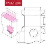 Vectorillustratie van doos pakketmalplaatje vector illustratie