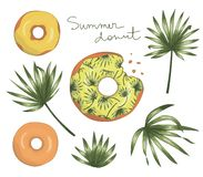 Vectorillustratie van doughnut met geel suikerglazuur met groene palmbladeren stock illustratie