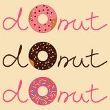 Vectorillustratie van doughnut met inschrijving Royalty-vrije Illustratie