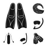 Vectorillustratie van duikvlucht en scuba-uitrustingspictogram De reeks van duikvlucht en zwemt voorraadsymbool voor Web stock illustratie
