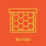 Vectorillustratie van dun de bijenkader van het lijnpictogram Stock Foto's