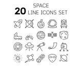 Vectorillustratie van dunne lijnpictogrammen voor ruimte royalty-vrije illustratie