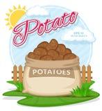 Vectorillustratie van ecoproducten Aardappels in jutezak Stock Foto's