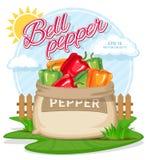Vectorillustratie van ecoproducten Rijpe Groene paprika in jutezak Volledige zakken met verse groenten Stock Fotografie