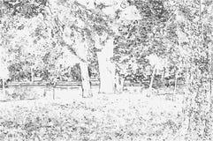 Vectorillustratie van een aardlandschap in zwart-witte ton Stock Afbeelding
