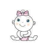 Vectorillustratie van een babymeisje Stock Afbeelding