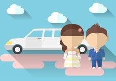 Vectorillustratie van een bruid en een bruidegom met Stock Foto's