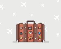 Vectorillustratie van een bruine reiskoffer Stock Afbeeldingen