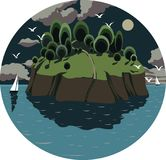 Vectorillustratie van een cirkel met het beeld van een nachtoverzees landscap Stock Foto's