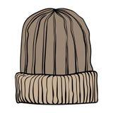 Vectorillustratie van een de winter gebreide hoed Bruine koffiewaaier Stock Fotografie
