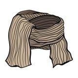 Vectorillustratie van een de winter gebreide sjaal Bruine koffiewaaier Stock Fotografie