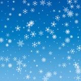 Vectorillustratie van een de winterachtergrond met sneeuwvlokken royalty-vrije stock afbeelding