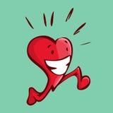 Vectorillustratie van een gelukkig hart die doend één of ander cardiow lopen Stock Fotografie
