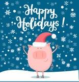 Vectorillustratie van een gelukkig het glimlachen varken in de nieuwe jaarnacht vector illustratie