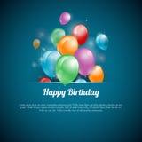 Vectorillustratie van een Gelukkige Verjaardagskaart Royalty-vrije Stock Afbeelding