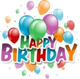 Vectorillustratie van een Gelukkige Verjaardagskaart Royalty-vrije Stock Afbeeldingen
