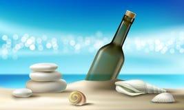 Vectorillustratie van een glasfles met een bericht die op een zandig strand met zeeschelpen en kiezelstenen liggen stock illustratie
