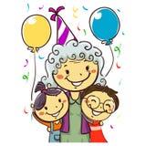 Vectorillustratie van een Grootmoeder die haar Verjaardag met Jonge geitjes vieren die partijhoed dragen stock foto's