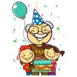 Vectorillustratie van een Grootvader die haar Verjaardag die met Jonge geitjes vieren een Cake houden stock fotografie