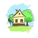 Vectorillustratie van een huis met een landschap Stock Foto's
