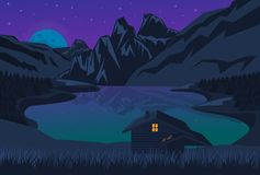 Vectorillustratie van een huis op het meer onder de bergen bij nacht stock illustratie