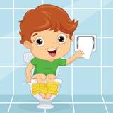 Vectorillustratie van een Jong geitje bij Toilet Royalty-vrije Stock Foto's